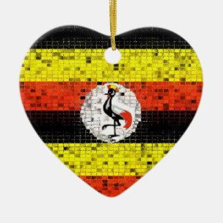 ウガンダの旗のグリッターのオーナメント セラミックオーナメント