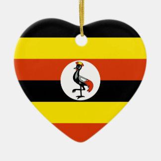 ウガンダの旗のハートのオーナメント セラミックオーナメント