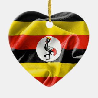 ウガンダの旗のハートの陶磁器のクリスマスのオーナメント セラミックオーナメント
