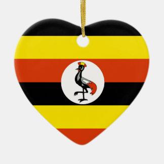 ウガンダの旗のハート セラミックオーナメント