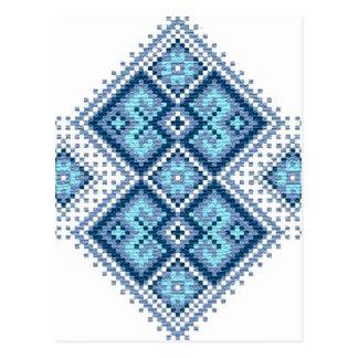 ウクライナの刺繍の青のvyshyvanka ポストカード