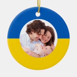 ウクライナの旗のクリスマスの写真のオーナメント セラミックオーナメント