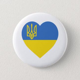 ウクライナの旗のハート 5.7CM 丸型バッジ