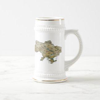 ウクライナの旗の~の地図のマグ ビールジョッキ