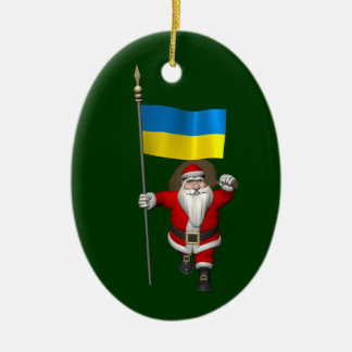 ウクライナの旗を持つサンタクロース セラミックオーナメント