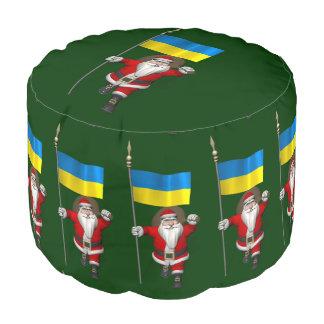 ウクライナの旗を持つサンタクロース プーフ