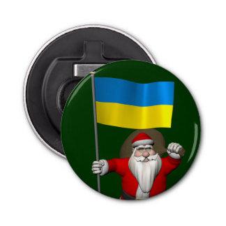 ウクライナの旗を持つサンタクロース 栓抜き