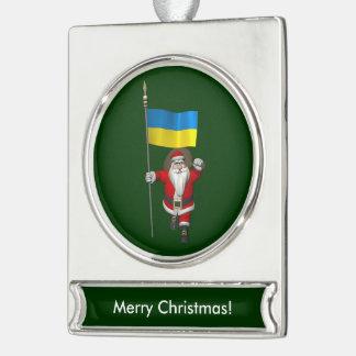 ウクライナの旗を持つ甘いサンタクロース シルバープレートバナーオーナメント