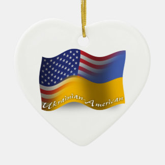 ウクライナアメリカの振る旗 セラミックオーナメント