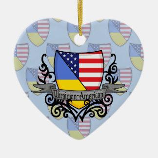 ウクライナアメリカの盾の旗 セラミックオーナメント