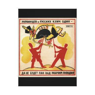 ウクライナ人およびロシア人のhave_Propagandaポスター キャンバスプリント