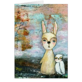 ウサギおよびフクロウのお洒落な森林創造物 カード