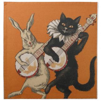 ウサギおよび猫-ヴィンテージ動物の芸術--をバンジョー遊びます ナプキンクロス