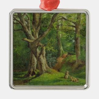 ウサギとの森林場面、1862年(キャンバスの油) シルバーカラー正方形オーナメント