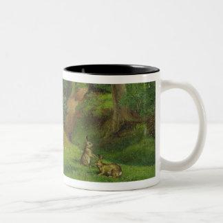 ウサギとの森林場面、1862年(キャンバスの油) ツートーンマグカップ