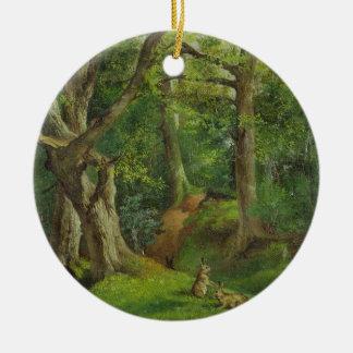 ウサギとの森林場面、1862年(キャンバスの油) 陶器製丸型オーナメント