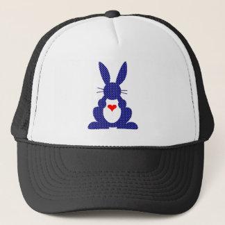 ウサギのシルエット、青い背景の白の星 キャップ