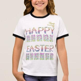 ウサギのハッピーイースターは女の子の信号器のTシャツに文字を入れます リンガーTシャツ