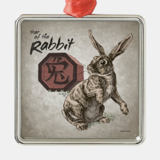 ウサギの中国のな(占星術の)十二宮図の芸術の年 メタルオーナメント
