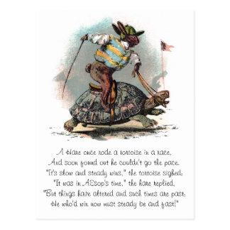 ウサギの乗馬のカメの競争 ポストカード