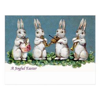 ウサギの四つ組のヴィンテージイースター 葉書き