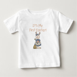 ウサギの女の子の最初イースターTシャツ ベビーTシャツ