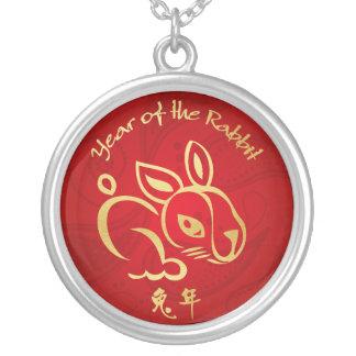 ウサギの金ゴールド/赤い年-旧正月 シルバープレートネックレス