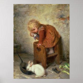 ウサギを持つ小さな女の子 ポスター