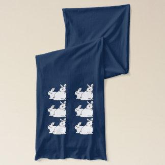 ウサギパターンジャージーの白いスカーフ スカーフ