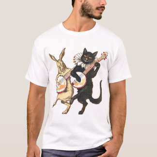 ウサギ及び猫の人の軽く短い袖のTシャツ Tシャツ