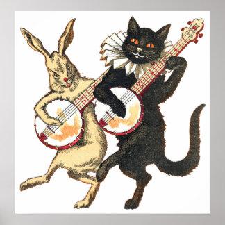 ウサギ及び猫ポスター ポスター