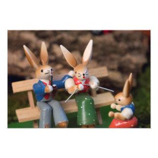 ウサギ家族イースター フォトプリント