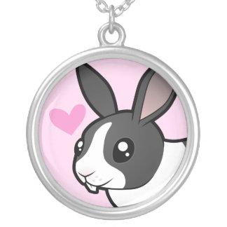 ウサギ愛(uppy耳の滑らかな毛) シルバープレートネックレス
