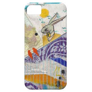 ウサギ、カレンダー、鳥が付いているおもしろいのコラージュ… iPhone SE/5/5s ケース