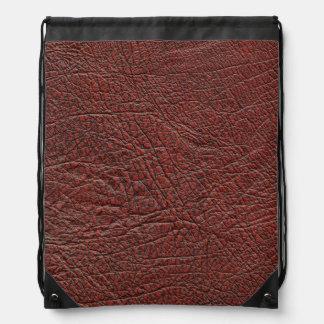 ウシの血の革微粒子燃やされた赤茶色のバッグ ナップサック