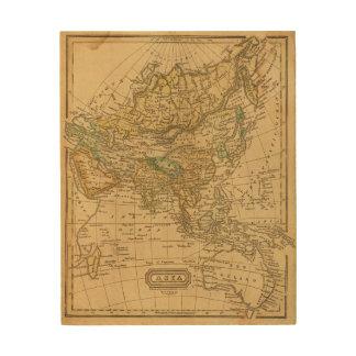 ウスター著アジアの地図 ウッドウォールアート