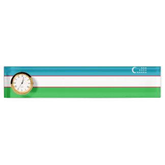ウズベキスタンの旗 デスクネームプレート