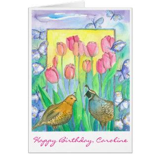 ウズラの鳥のピンクのチューリップによってはハッピーバースデーが開花します カード