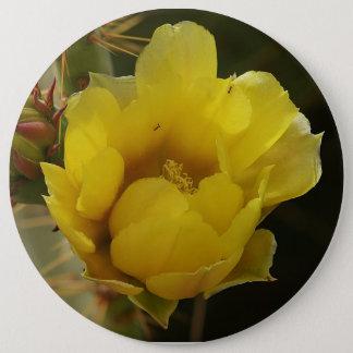 ウチワサボテンサボテンの黄色の花ボタン 15.2CM 丸型バッジ