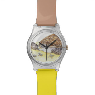 ウミガメおよびベビー 腕時計
