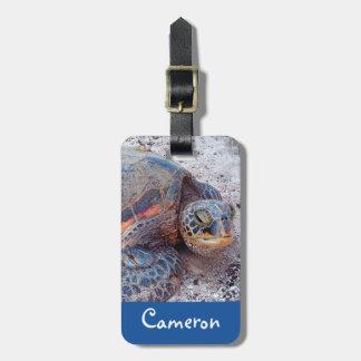 ウミガメのクローズアップの写真の名前をカスタムするの荷物のラベル ラゲッジタグ