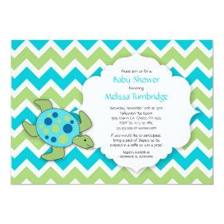 ウミガメのベビーシャワーまたは誕生会の招待 カード