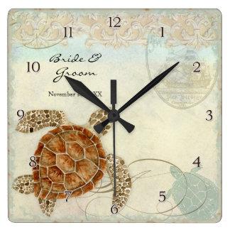 ウミガメのモダンな沿岸海のビーチの渦巻のスタイル スクエア壁時計