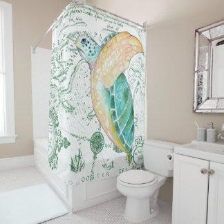 ウミガメのヴィンテージの緑 シャワーカーテン