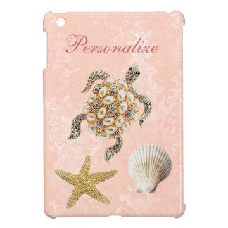 ウミガメの宝石のプリント、ヒトデ及び海の貝 iPad MINIケース