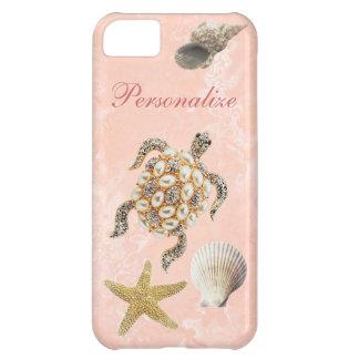 ウミガメの宝石のプリント、ヒトデ及び海の貝 iPhone5Cケース