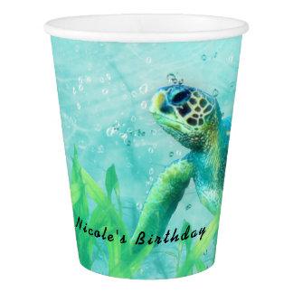 ウミガメの海のビーチの芸術のエレガントな熱帯パーティー 紙コップ