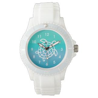ウミガメの海の水彩画の腕時計 腕時計