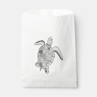 ウミガメの線画のデザイン フェイバーバッグ