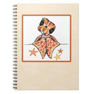 ウミガメの赤ん坊のブラウンのヒトデ ノートブック